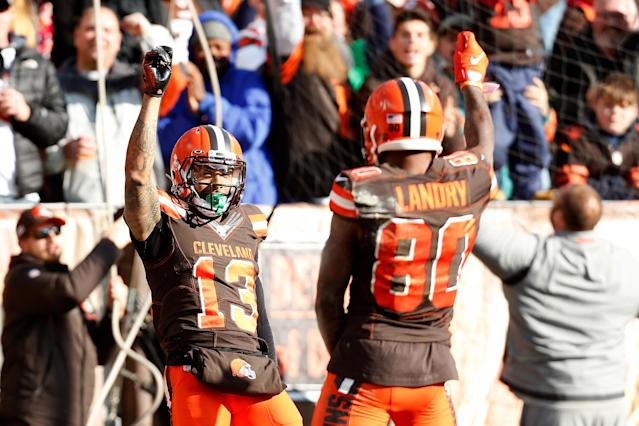 Odell Beckham Jr. of the Cleveland Browns celebrates with Jarvis Landry after scoring a touchdown. (Photo by Kirk Irwin/Getty Images)