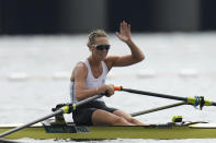 Emma Twigg, of New Zealand reacts after winning the gold medal in the women's rowing single sculls final at the 2020 Summer Olympics, Friday, July 30, 2021, in Tokyo, Japan. (AP Photo/Lee Jin-man)