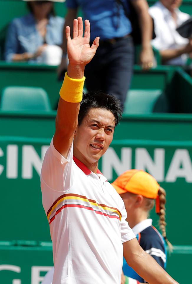 Tennis - ATP - Monte Carlo Masters - Monte-Carlo Country Club, Monte Carlo, Monaco - April 18, 2018   Japan's Kei Nishikori celebrates after winning his second round match against Russia's Daniil Medvedev   REUTERS/Eric Gaillard