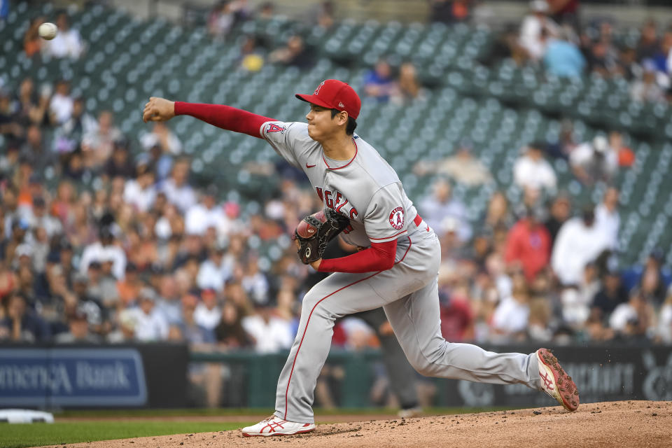 DETROIT, MICHIGAN - AUGUST 18: Shohei Ohtani #17 of the Los Angeles Angels delivers a pitch against the Detroit Tigers during the bottom of the first inning at Comerica Park on August 18, 2021 in Detroit, Michigan. (Photo by Nic Antaya/Getty Images)