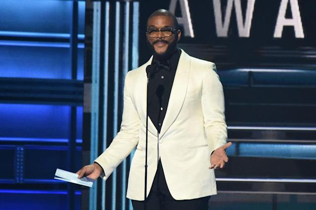<p>Tyler Perry speaks onstage at the 51st annual CMA Awards at the Bridgestone Arena on November 8, 2017 in Nashville, Tennessee. (Photo by John Shearer/WireImage) </p>