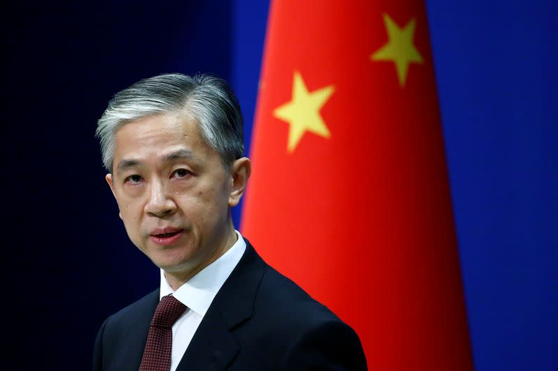 Chinese Foreign Ministry spokesman Wang Wenbin speaks during a news conference in Beijing
