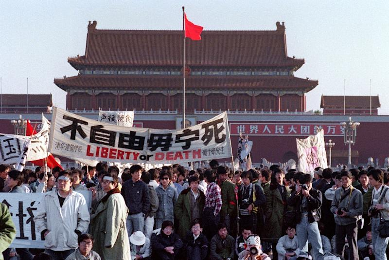 China's current defence minister said the crackdown on the protestors in Tiananmen Square (pictured on May 14, 1989) was the 'correct' policy to 'stop the turbulence'