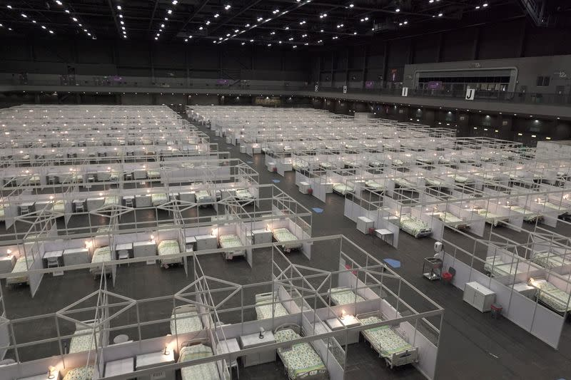 An exhibition hall that has been converted into a makeshift treatment facility to treat patients of the coronavirus disease (COVID-19) is pictured in Hong Kong