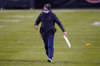 Chicago Bears head coach Matt Nagy walks onto the field after a unnecessary roughness penalty in the second half of an NFL football game against the New Orleans Saints in Chicago, Sunday, Nov. 1, 2020. (AP Photo/Nam Y. Huh)