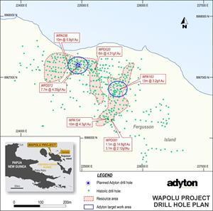 Wapolu Prospect - drilling and resource areas