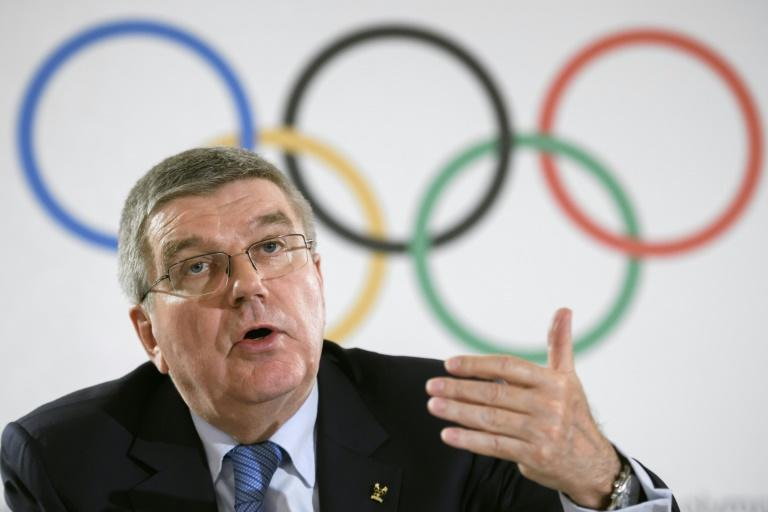 International Olympic Committee (IOC) chief Thomas Bach speaks to reporters following a 2016 meeting in Lausanne, Switzerland