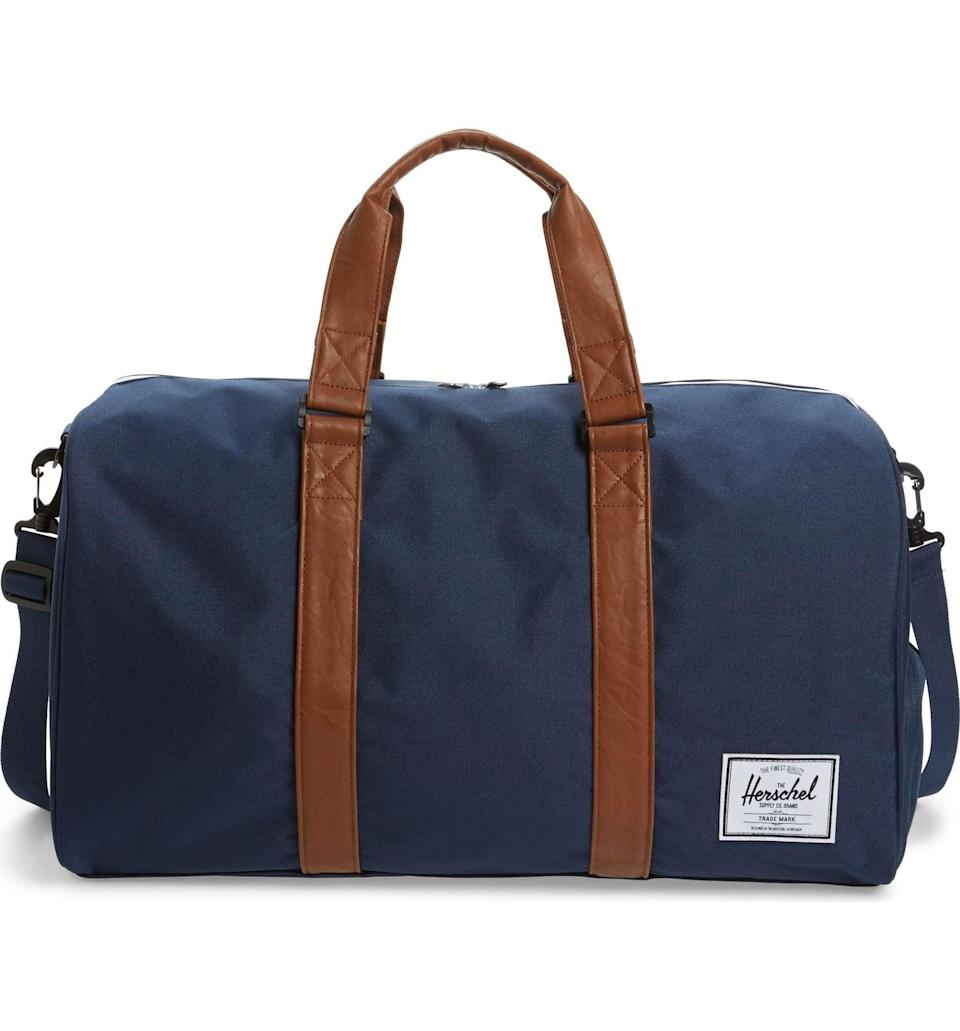 <p>The <span>Herschel Supply Co. Novel Duffel Bag </span> ($90) is such a great weekender or gym bag. </p>