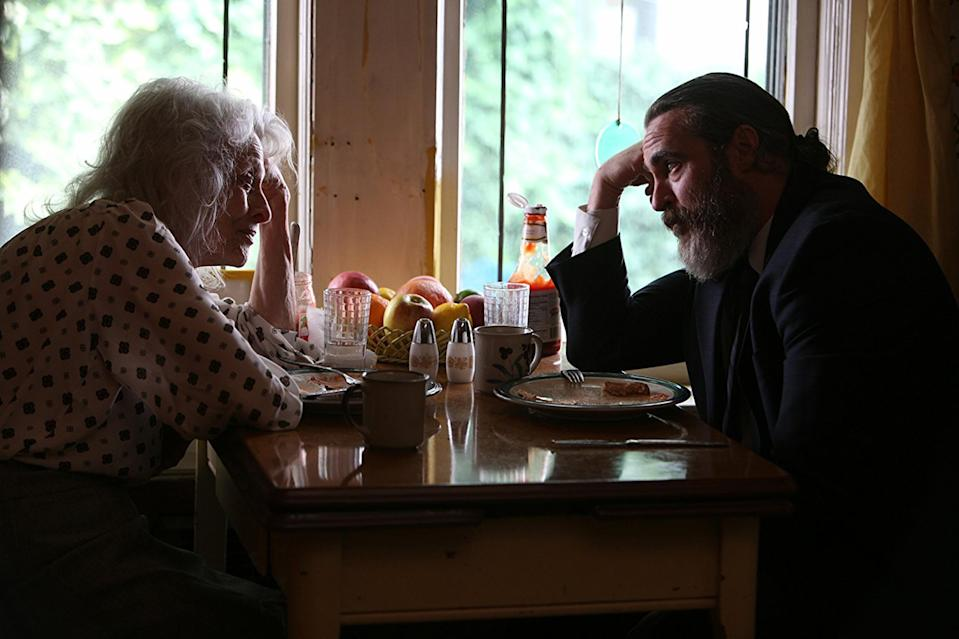 Judith Roberts, in a scene with Phoenix, plays Joe's mother in <em>You Were Never Really Here</em>. (Photo: Amazon Studios)