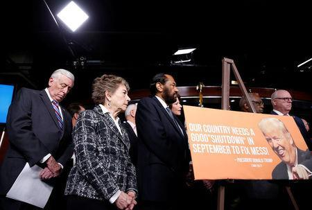 Rep. Steny Hoyer (D-MD) and other Democratic member of Congress stand during a news conference after President Donald Trump and the U.S. Congress failed to reach a deal on funding for federal agencies on Capitol Hill in Washington, U.S., January 20, 2018. REUTERS/Joshua Roberts