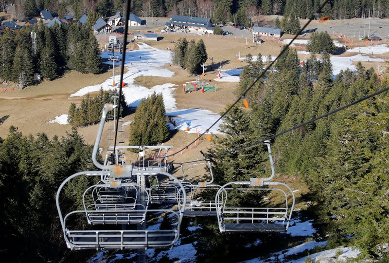 General view shows the ski resort of The Mourtis, as the ski slopes are closed due to lack of snow in Boutx
