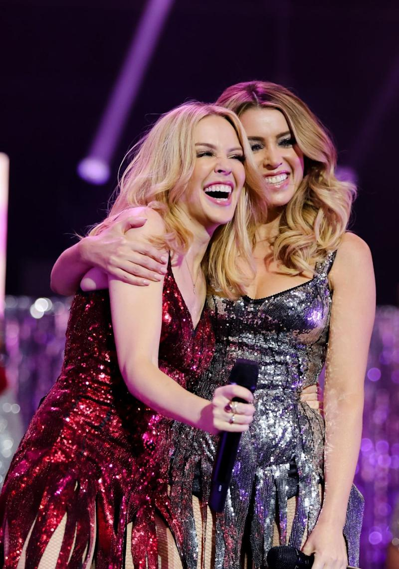 Aussie sisters Kylie and Dannii Minogue (here together in 2015) gushed about the result on social media. Source: Getty