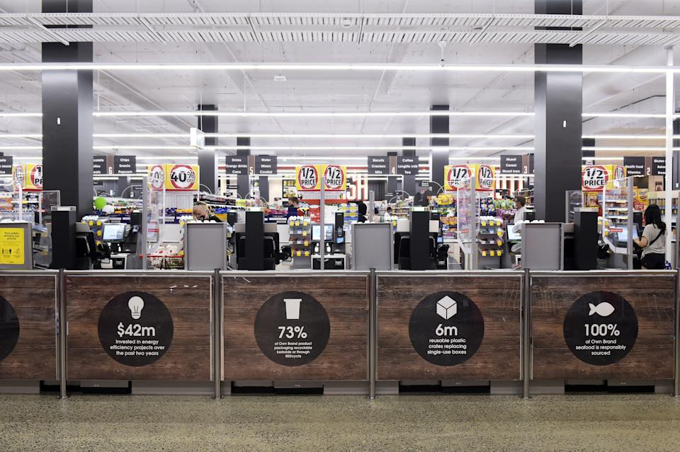Front of Coles supermarket showing sustainability signs. Source: Getty Images