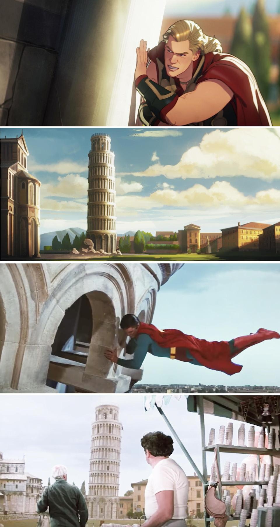 Thor pushing the Leaning Tower of Pisa vs Superman doing the same