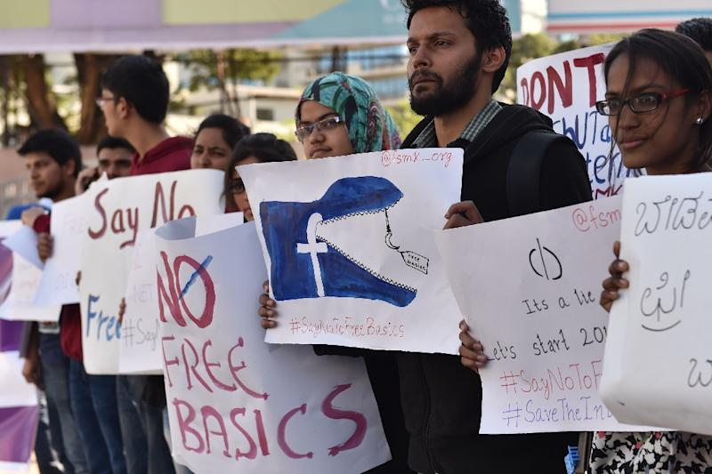 Opponents says that Free Basics violates the principle that the entire Internet should be available to everyone on equal terms (AFP Photo/Manjunath Kiran)