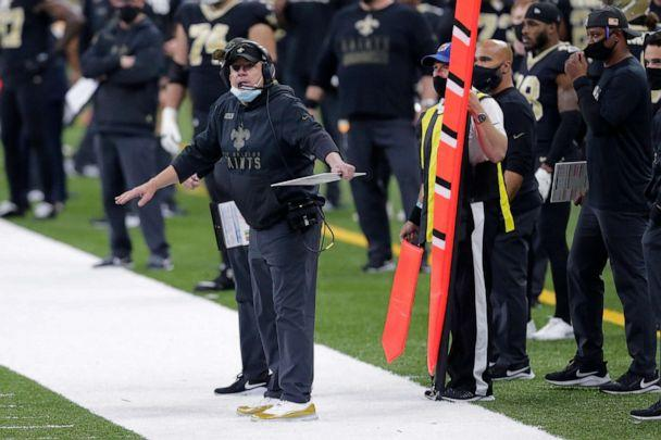 PHOTO: New Orleans Saints head coach Sean Payton reacts on the sideline in the first half of an NFL football game against the Atlanta Falcons in New Orleans, Nov. 22, 2020. (Brett Duke/AP, FILE)