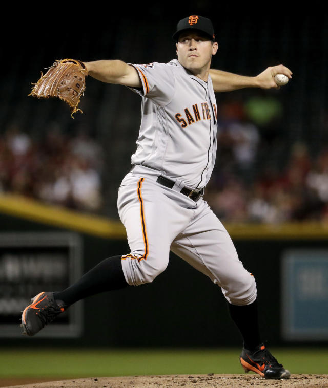 San Francisco Giants starting pitcher Ty Blach throws to an Arizona Diamondbacks batter during the first inning of a baseball game Thursday, April 19, 2018, in Phoenix. (AP Photo/Matt York)