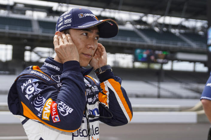 Takuma Sato of Japan prepares to drive during practice for the Indianapolis 500 auto race at Indianapolis Motor Speedway in Indianapolis, Tuesday, May 18, 2021. (AP Photo/Michael Conroy)
