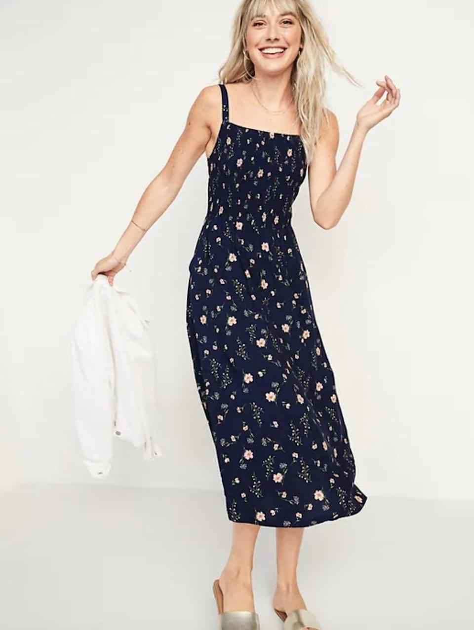 <p>This <span>Smocked Fit &amp; Flare Cami Midi Dress</span> ($35, originally $40) is such an easygoing piece for warm days. </p>