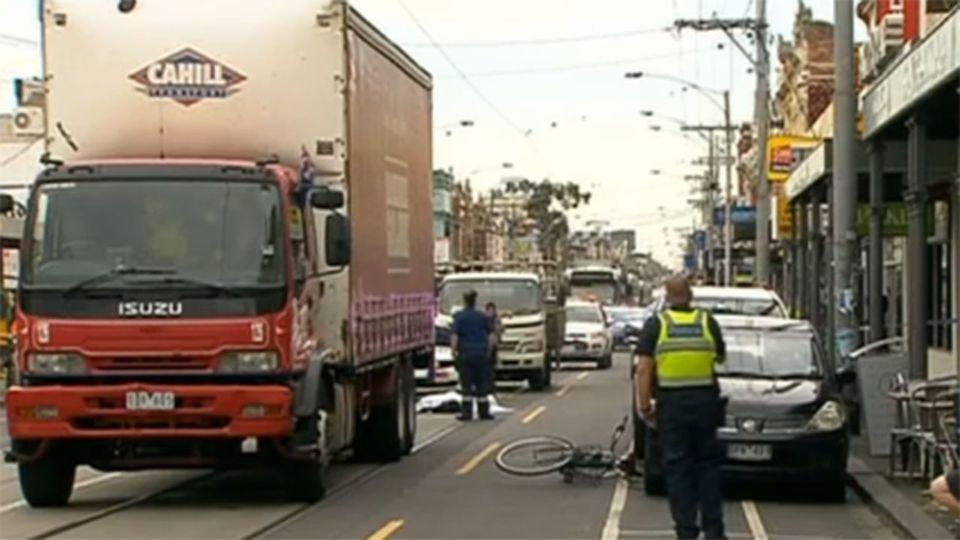 The scene where Alberto Paulon was killed when a car door being opened, knocked him under the tyres of a passing truck.