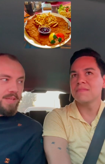 they are in the car and a schnitzel is superimposed