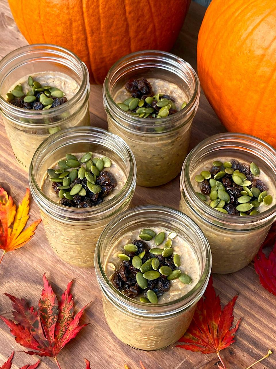"""<p>This perfectly spiced pumpkin pie overnight oats recipe makes five jars at once, each offering 18 grams of protein.</p> <p><strong>Get the recipe:</strong> <a href=""""https://www.popsugar.com/fitness/meal-prep-week-pumpkin-spice-overnight-oats-47886850"""" class=""""link rapid-noclick-resp"""" rel=""""nofollow noopener"""" target=""""_blank"""" data-ylk=""""slk:pumpkin pie overnight oats"""">pumpkin pie overnight oats</a></p>"""