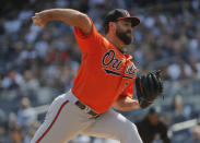 Baltimore Orioles starting pitcher Nate Karns delivers against the New York Yankees during the first inning of a baseball game, Saturday, March 30, 2019, in New York. (AP Photo/Julie Jacobson)