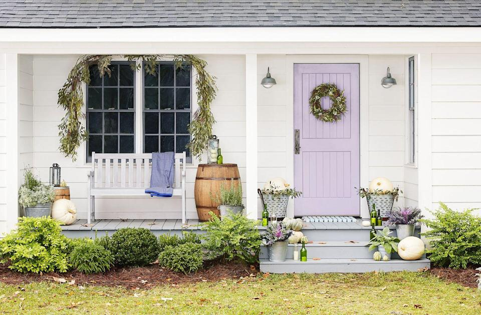 """<p>We all need a little more lilac in our lives! You'll have the prettiest front porch on the block with a front door painted in <a href=""""https://www.sherwin-williams.com/homeowners/color/find-and-explore-colors/paint-colors-by-family/SW6836-novel-lilac"""" rel=""""nofollow noopener"""" target=""""_blank"""" data-ylk=""""slk:Novel Lilac by Sherwin-Williams"""" class=""""link rapid-noclick-resp"""">Novel Lilac by Sherwin-Williams</a>.</p>"""