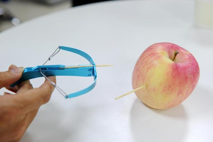 Authorities have raided toy shops across China to enforce a ban on a handheld crossbow popular with children that can fire nails and needles (AFP Photo/STR)