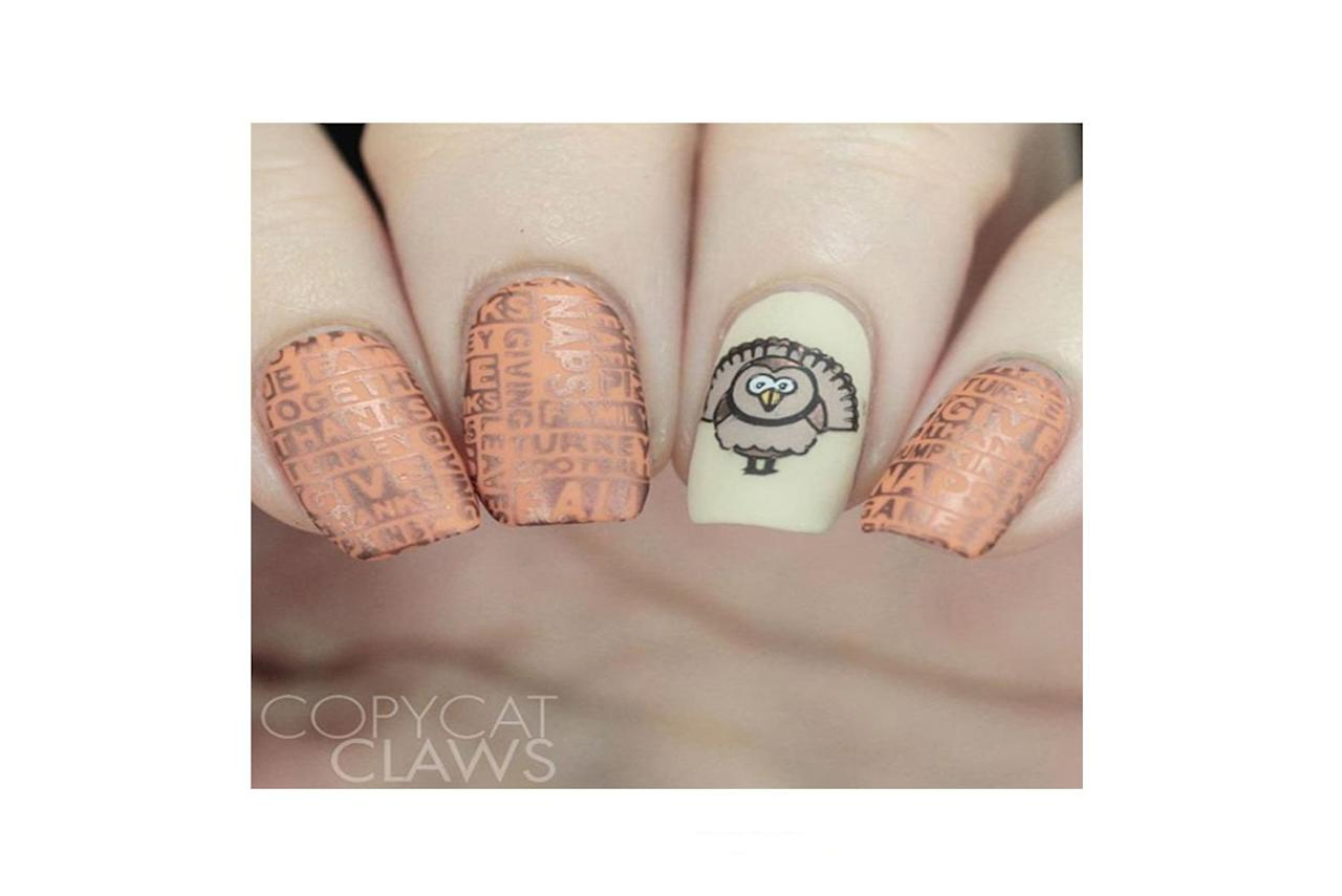 """<p>Thanksgiving is a time to give thanks, watch football, and eat turkey so why not have those words that surround the holiday stamped on your nails. Check out more designs <a href=""""https://www.instagram.com/copycatclaws/"""">@copycatclaws</a>.</p>"""