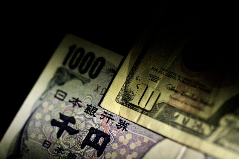 FILE PHOTO: Ilustration photo of U.S. dollar and Japan Yen notes