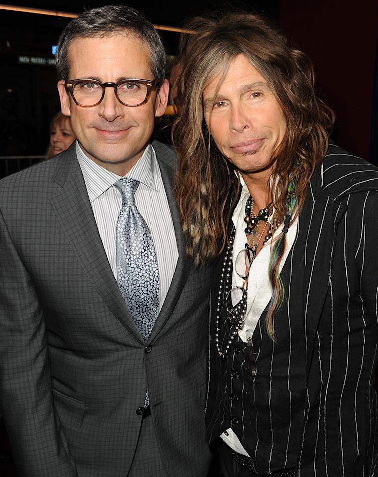 "teve Carell (L) and musician Steven Tyler attend the premiere of Warner Bros. Pictures' ""The Incredible Burt Wonderstone"" at TCL Chinese Theatre on March 11, 2013 in Hollywood, California.  (Photo by Kevin Winter/Getty Images)"