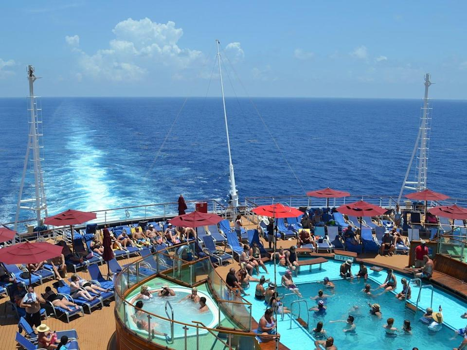 One of Carnival's multiple pool areas.