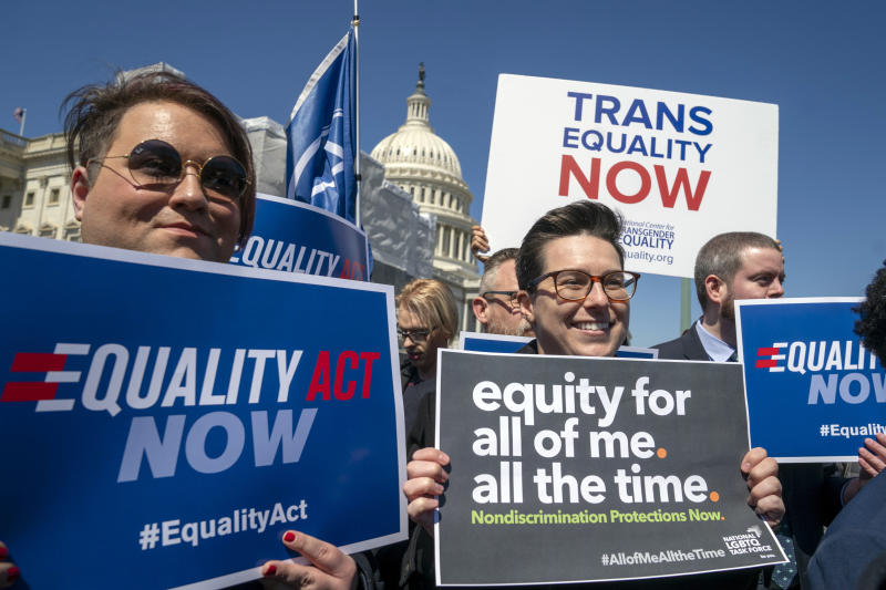 Advocates for the The Equality Act gather on Capitol Hill the day before the House Judiciary Committee holds a hearing on the legislation on Monday, April 1, 2019. (AP Photo/J. Scott Applewhite)