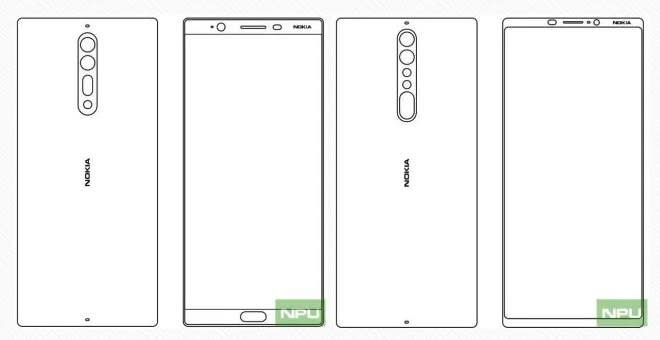 Sketches appear to show Nokia 8 and Nokia 9 design