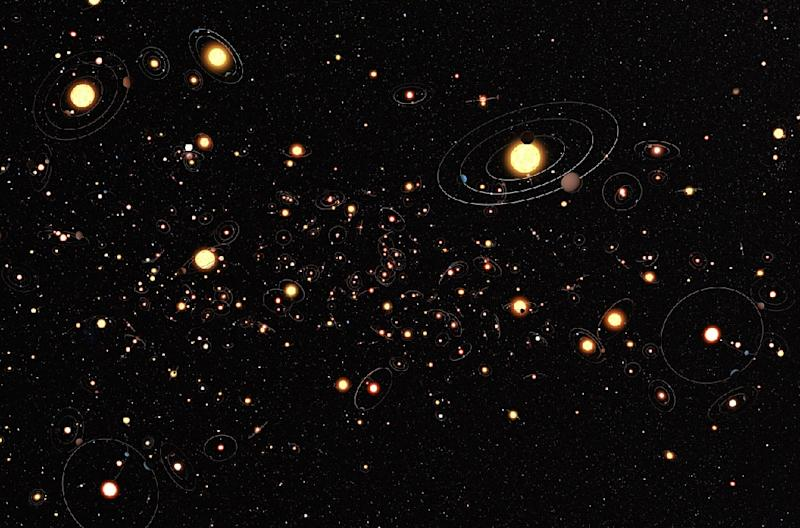 This picture received from the European Southern Observatory on January 11, 2012 is an artist's impression which shows how common planets are around the stars in the Milky Way