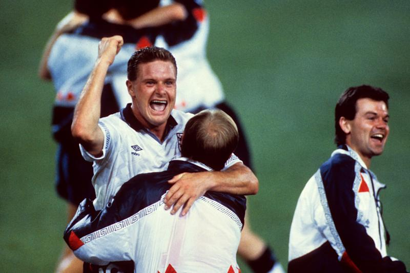 England's Paul Gascoigne celebrates with Steve McMahon and Steve Hodge (r) following England's last gasp win over Belgium thanks to a David Platt (not pictured) goal. (Photo by Peter Robinson - PA Images via Getty Images)
