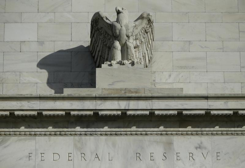 Detail from the front of the United States Federal Reserve Board building is shown in Washington