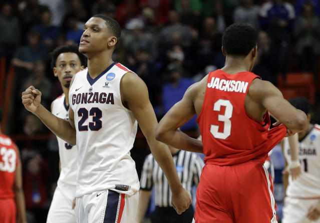 Gonzaga guard Zach Norvell Jr. (23) pumps his fist as Ohio State guard C.J. Jackson (3) walks off the court following a second-round game in the NCAA men's college basketball tournament Saturday, March 17, 2018, in Boise, Idaho. (AP Photo/Otto Kitsinger)
