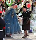 <p>Dressed in mourning black, The Queen arrives at Westminster Abbey for the funeral of Princess Diana. (PA Archive) </p>