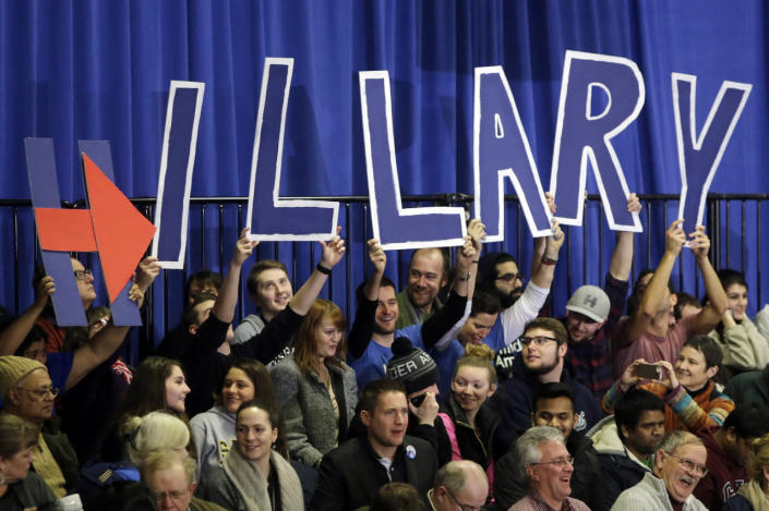 <p>Supporters of Democratic presidential candidate Hillary Clinton hold signs that spell out her name at her New Hampshire presidential primary campaign rally on Feb. 9, 2016, in Hooksett, N.H. (Elise Amendola/AP)</p>