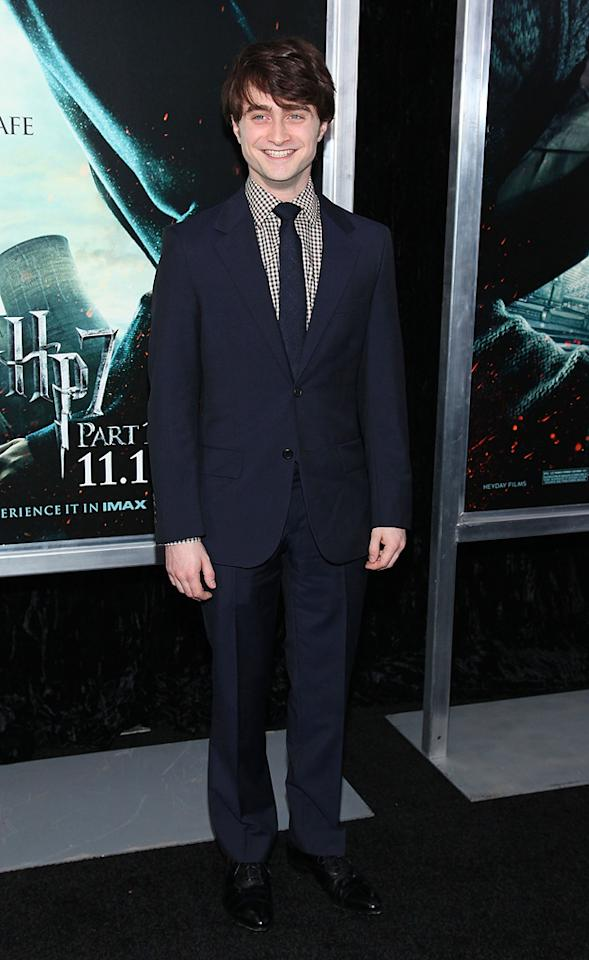 """<a href=""""http://movies.yahoo.com/movie/contributor/1802866080"""">Daniel Radcliffe</a> attends the New York premiere of <a href=""""http://movies.yahoo.com/movie/1810004780/info"""">Harry Potter and the Deathly Hallows - Part 1</a> on November 15, 2010."""