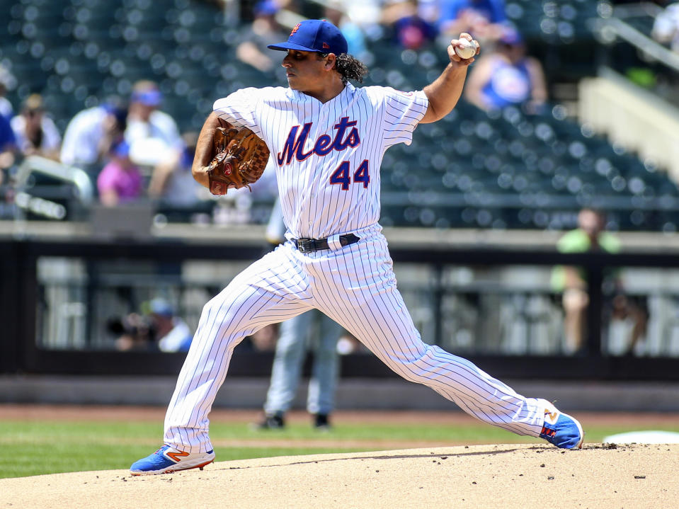 Jul 24, 2019; New York City, NY, USA; New York Mets pitcher Jason Vargas (44) pitches in the first inning against the Pittsburgh Pirates at Citi Field. Mandatory Credit: Wendell Cruz-USA TODAY Sports