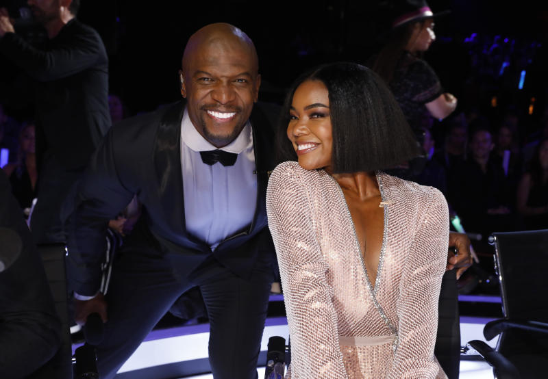 "AMERICA'S GOT TALENT -- ""Live Results Finale"" Episode 1423 -- Pictured: (l-r) Terry Crews, Gabrielle Union -- (Photo by: Trae Patton/NBCU Photo Bank/NBCUniversal via Getty Images via Getty Images)"