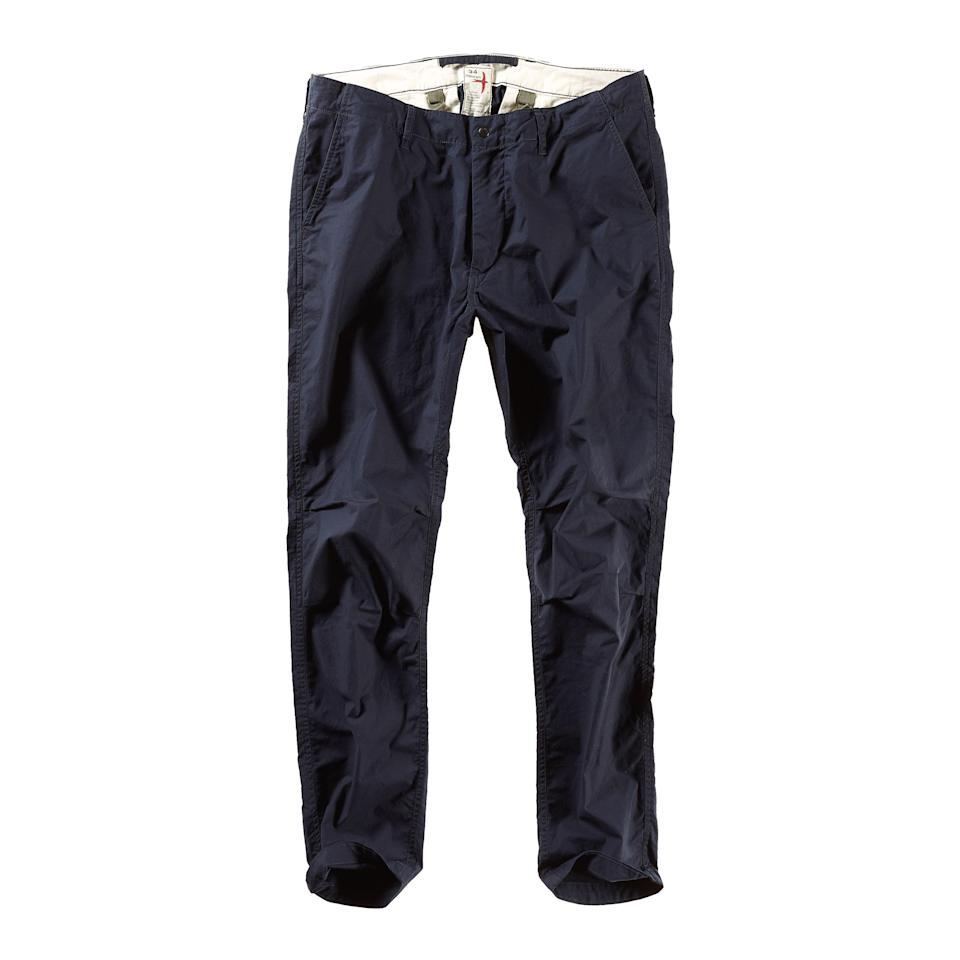 """<p><strong>Relwen</strong></p><p>huckberry.com</p><p><strong>$138.98</strong></p><p><a href=""""https://go.redirectingat.com?id=74968X1596630&url=https%3A%2F%2Fhuckberry.com%2Fstore%2Frelwen%2Fcategory%2Fp%2F61555-flyweight-flex-chino&sref=https%3A%2F%2Fwww.esquire.com%2Fstyle%2Fmens-fashion%2Fg33483963%2Fhuckberry-summer-sale%2F"""" rel=""""nofollow noopener"""" target=""""_blank"""" data-ylk=""""slk:Buy"""" class=""""link rapid-noclick-resp"""">Buy</a></p><p>A pair of hard pants you'll actually look forward to wearing. (Some day soon...maybe?)</p>"""