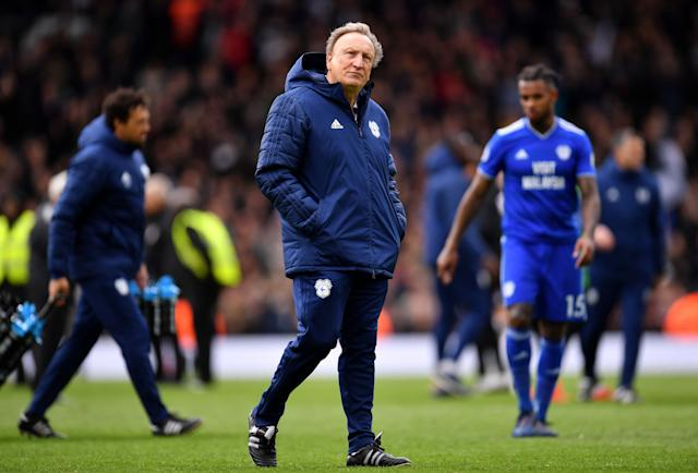 Neil Warnock's Cardiff City look set to be relegated following defeat at Fulham (Photo by Justin Setterfield/Getty Images)