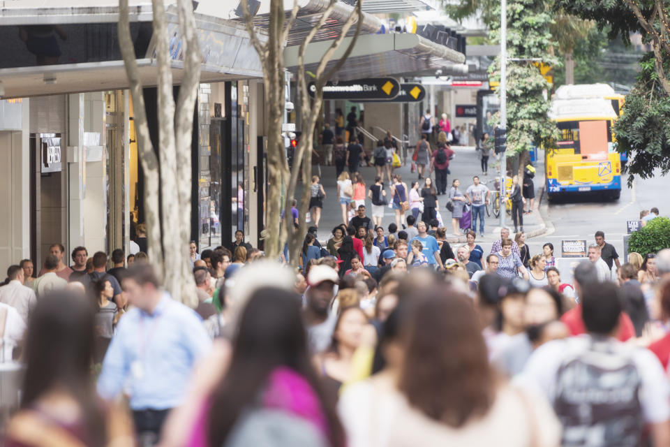 Color image of the prominent Queen Street in Brisbane with crowds shopping.