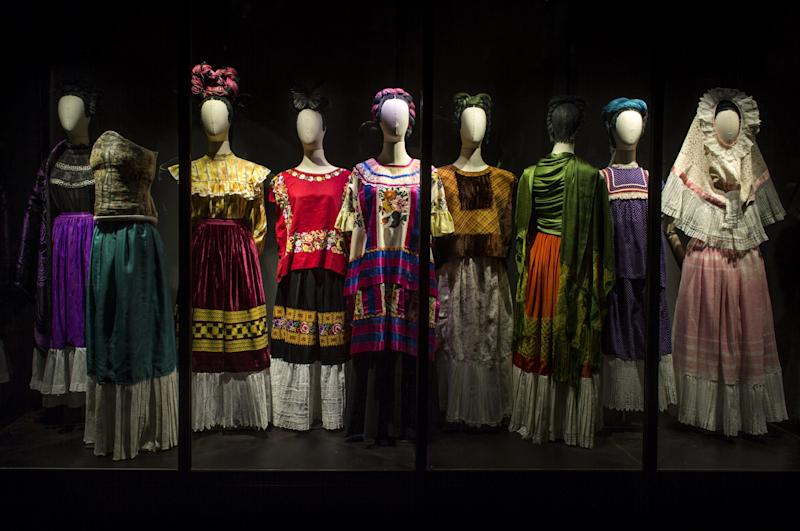 Tehuana dresses, and a mix of European styles, worn by Frida Kahlo. On view at the Brooklyn Museum.