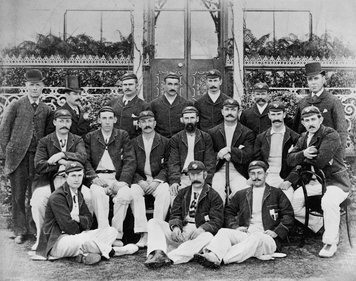 The Australian 'Eighth Team' in England, 1893. Back row, left to right: Carpenter (umpire), V. Cohen (manager), Affie Jarvis, Walter Giffen, William Bruce, Alec Bannerman and umpire Thoms. Middle row, left to right: Harry Trott, Hugh Trumble, George Giffen, Jack Blackham (captain), J.J. Lyons, Bob McLeod and Charlie Turner. Front row, left to right: Harry Graham, A. Coningham and Syd Gregory. (Photo by Hulton Archive/Getty Images)