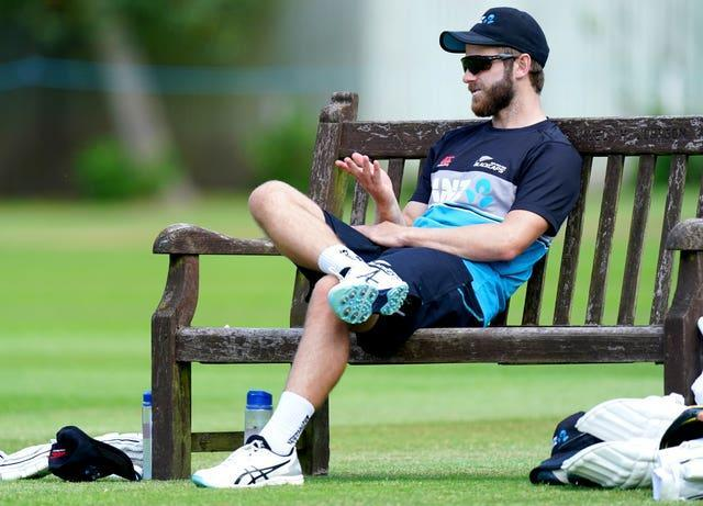 Kane Williamson sits on a bench